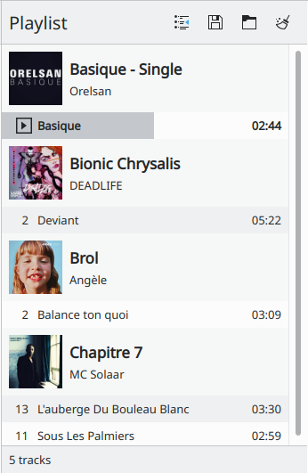 Screenshot of the playlist feature
